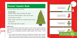 Christmas Voucher Gift Book Craft Instructions Xmas Gift Parents