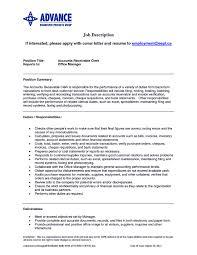 Accountsivable Sample Job Description Specialist Manager Resume