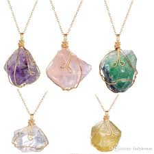 fashion charm natural raw stone ore irregular amethyst crystal twisted wire necklace pendant whole canada 2019 from ladyhouse cad 5 45 dhgate canada