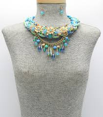 assorted glass beads faux leather fringe collar