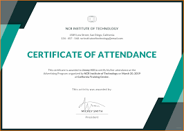 10 Sample Certificate Of Attendance Soulhour Online