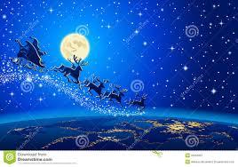 santa claus and reindeer flying. Santa Claus And Reindeer In Sky To Flying