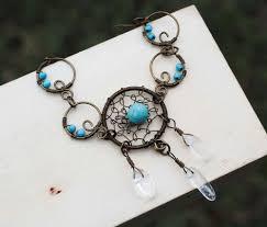 Wire Wrap Dream Catcher Tutorial Dream Catcher Bracelet Gypsy Wire Wrap Turquoise Clear Quartz 67