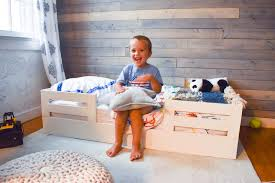 diy toddler bed with wooden bed rails