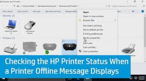checking the hp printer status when a printer offline message displays in windows