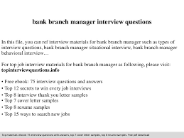 Bank Manager Interview Questions Bank Branch Manager Interview Questions