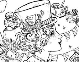 Small Picture Adult Colouring Page Alice in Wonderland Gothic Lolita Kawaii