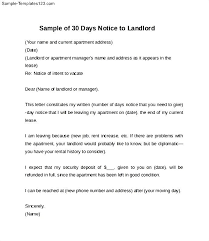 example of 30 day notice letter to landlord sample templates thirty day notice letter