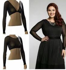 New Nwt Sleevey Wonders Plus Size Shapewear Black Shirred