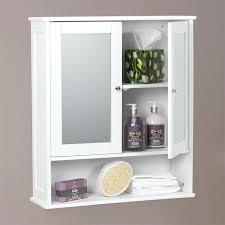 shaker style bathroom wall cabinets bathroom mirror 2 door wall cabinet white painted finish inner 2 shelves open bottom shelf wood construction white