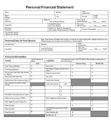 Personal Financial Statement Blank Forms 40 Personal Financial Statement Templates Forms Template Lab