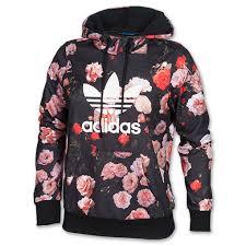 adidas hoodie womens. women\u0027s adidas trefoil allover floral hoodie black | kicks store ltd womens