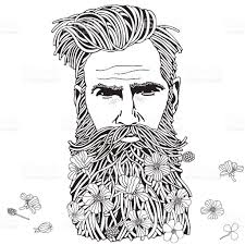 Small Picture Bearded Hipster Man Coloring Book Page For Adult stock vector art
