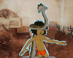 Set on a lithographic background; Disney Jungle Book 1967 Mowgli And Kaa Original Art Cel Project Background Animation Art Stuff Hub Ideas Wiki Fandom