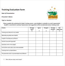 Training Evaluation Form Samples Examples For On Job Application ...