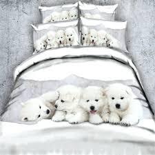 cute 3d white pet dog bedding sets 3 4pc bedspreads king full sizes duvet quilt dog
