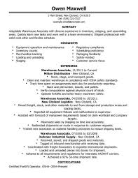 Resume For Warehouse Workers Warehouse Resume Objective Samples For