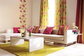 Curtain Design Idea With Flower Picture Colorful Ideas In Small And Chic Living  Room