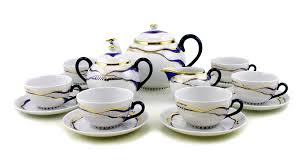 hungarian porcelain zsolnay modern bluegold decor tea set