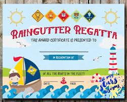 Printable Awards And Certificates Cub Scout Boys Raingutter Regatta Award Certificate Diy Etsy