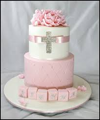 Pink And White Floral Christening Cake Broadwaybakerycom 39646