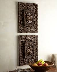 Wall Art Design, Asian Wood Wall Art Two Piece Rectangle Brown Varnished  Detail Carved Wooden