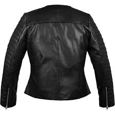 collarless biker black leather jacket