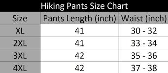 4xl Pants Size Chart Hiking Pants Size Chart Ptt Outdoor