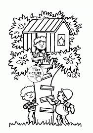 Small Picture Coloring Pages Tree House Summer Fun Coloring Page For Kids