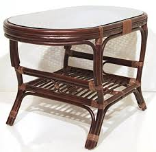 coffee oval table with glass top wicker