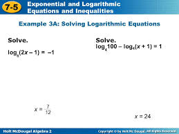 example 3a solving logarithmic equations