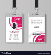 Company Id Card Template Stylish Id Card Template With Pink Details