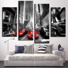 4 pcs set landscape car wall art decoration modern city red taxis on street wall on red canvas wall art uk with 4 pcs set landscape car wall art decoration modern city red taxis on
