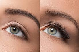 an eye photographed before and after eyelash extensions
