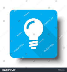 vector square blue icon lighting bulb. white light bulb icon on blue web button vector square lighting e