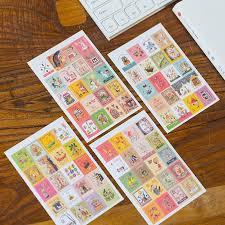 4 Sheets/<b>lot Kawaii</b> Cartoon Korea Vintage Francoise Stamp Flakes ...