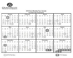 Pay And Holiday Calendars Payroll Office Grand Valley