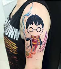 animated harry potter sketch as a shoulder tattoo