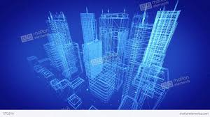 Architectural Blueprint Of Contemporary Buildings Blue Tint Stock