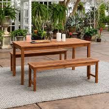 light brown bench patio table set rc