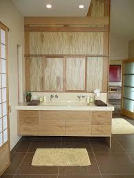 Bathroom:Modern Japanese Style Bathroom Design With Wooden Accent Decor  Plus Vanities And Shoji Sliding