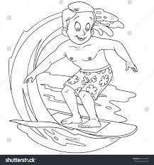 Coloring Pages Surfing Interesting Page Cartoon Boy On Stock Vector