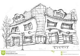 crooked little house sketch stock ilration