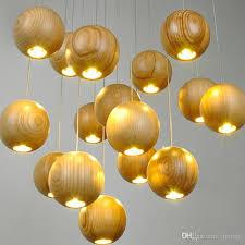 modern solid wood chandelier creative wooden ball pendant lamp led wood pendant light meteoric shower stair light restaurant ceiling light hanging lamps