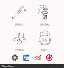 Baseball Signals Chart Baseball Bowling And Basketball Icons Stock Vector