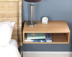 Floating Nightstand / Modern Bedside Table in White Oak, Mid-Century Modern  Inspired