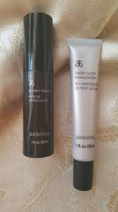 review swatches ings arbonne sheer glow highlighter and makeup primer beautystat