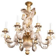 italian carved wood monkey chandelier