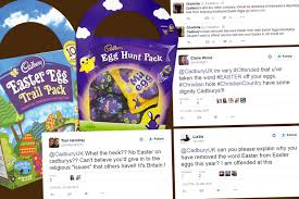 word easter egg christians are angry that cadbury are leaving are the word easter