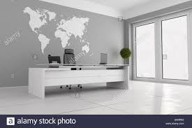 Minimalist Office With White Desk And World Map On Wall 3d